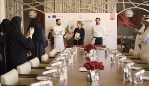 Chef Ahmad Fraijeh, Marie-Laure Martin from the French Dairy Board and Francois Robin