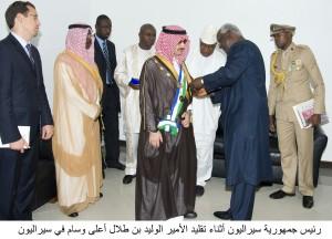 President of Sierra Leone Awards Prince Alwaleed Highest Medal, June 2013 A