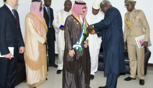 President of Sierra Leone Awards Prince Alwaleed Highest Medal, June 2013 A