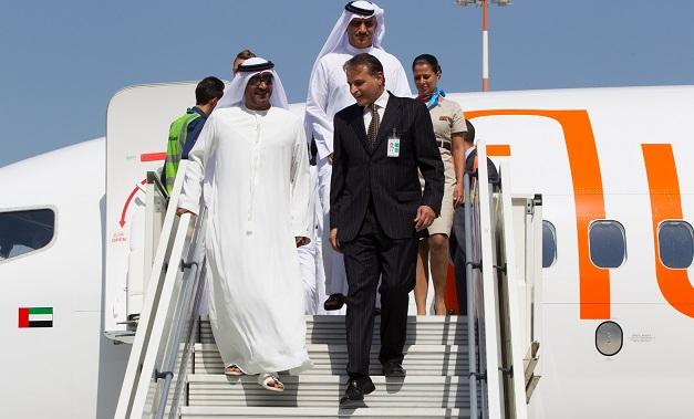 H.H. Sheikh Ahmed Bin Saeed Al Maktoum Descending from the Aircraft