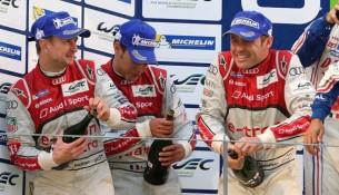 Allan McNish (GB), Loïc Duval (F), Tom Kristensen (DK)Podium