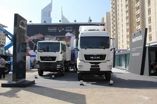 MAN stand at Big 5 with new TGS WW 6X4 Tractor Head (on the right) and TGS WW 6X4 Rigid Tipper ( to the left)