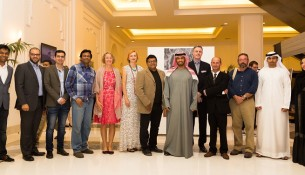 H.E. Sheikh Mohammed bin Faisal Al Qassimi and CEO of HMH Laurent A. Voivenel with the photographers at The Ajman Palace -2