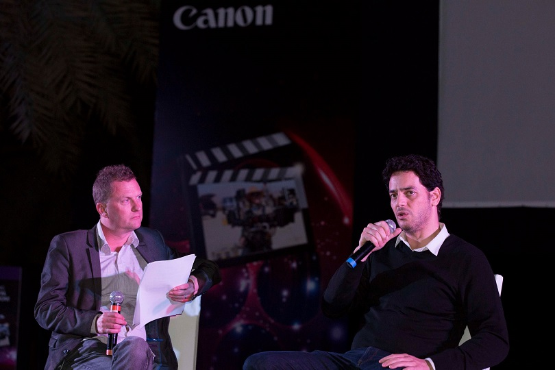 Khaled Abol Naga (right) and Christopher Newbould (left) at Microphone screening and discussion on 'Film Making-The Digital Revolution'