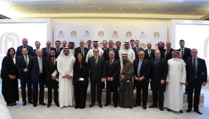 Group photo for Majid Al Futtaim team after press conference