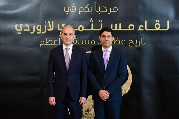 عثمان اسكندر الرئيس المشارك للخدمات المصرفية الاستثمارية في البنك السعودي الفرنسي وسليم شدياق الرئيس التنفيذي لمجموعة لازور