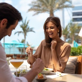 Jumeirah Al Naseem - Japanese Fusion at Summersalt Beach Club - Couple - View Burj