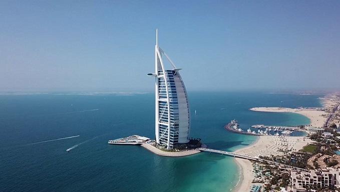 Burj Al Arab Jumeirah - Aerial at Daytime
